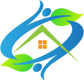 Eco home people. A vector drawing represents eco home people design royalty free illustration
