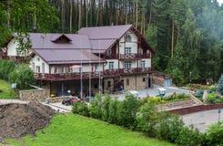 Eco-hotel ECHO in the resort city of Belokurikha in the Altai Krai. Belokurikha, Russia - July 29, 2015: Eco-hotel ECHO in the resort city of Belokurikha in the Royalty Free Stock Photos