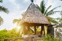 Eco hotel resort tourism concept house Thatching Straw Roof hut. Straw Roof Eco hotel resort tourism concept nature background wooden hut tropics in the local stock image