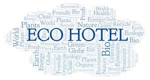 Eco Hotel word cloud. Wordcloud made with text only stock illustration