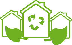Eco house. With green leaf and recycle sign Royalty Free Stock Photography