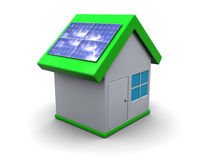 Eco house. 3d illustration of house symbol with solar panels, over white background Royalty Free Stock Photo
