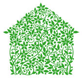 Eco house. Background with flower. Vector illustration Vector Illustration