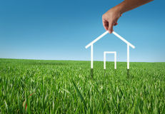Eco house. In the grass, recycle concept Stock Image