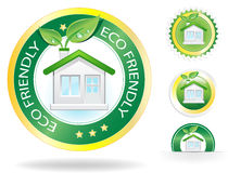 Eco House. This image is a vector file representing a eco house label concept,  all the elements can be scaled to any size without loss of resolution Stock Photo