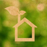 Eco house. Paper texture of eco house logo Royalty Free Stock Images