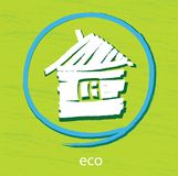 Eco house. Vector icon. White house on a green background Royalty Free Stock Photos
