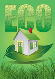 Eco house. Eps  eco house on leaf Stock Photo