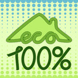 Eco house with abstract background. Eco house concept. Logo/badge/label design royalty free illustration