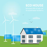 Eco house banner. Sun and wind energy generation Royalty Free Stock Photo