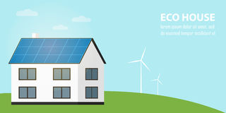 Eco house banner. Sun and wind energy generation Stock Photos