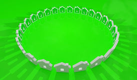 Eco house in circle, background. Fine image 3d of  house in circle, background Royalty Free Stock Photography
