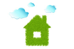 Eco House and Clean Clouds. Vector Royalty Free Stock Image