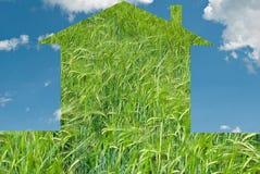 Eco house concept. On blue sky Stock Photos