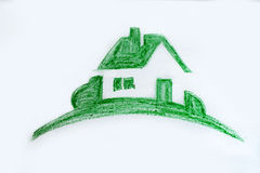 Eco house concept ,green painted house. Eco house concept ,green hand painted house stock illustration