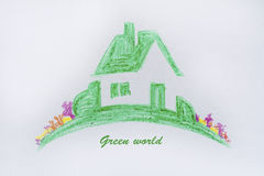 Eco house concept ,green painted house Royalty Free Stock Photo