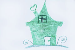 Eco house concept ,green painted house Royalty Free Stock Image