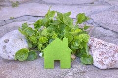 Eco house concept in a green plants and stones, green eco house icon in nature Royalty Free Stock Photo