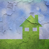 Eco house with cracked texture background. Eco house concept with crack texture background. Ecology, environment and global warming concept background. Square Stock Image
