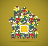 Eco house flowers symbol and shadow. Royalty Free Stock Photo