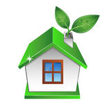 Eco house with a green leaf. Eco house with green leaf vector royalty free illustration