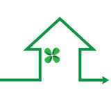 Eco house in green line illustration Stock Images