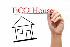 ECO House - House with text and male hand with pen. House with text and male hand with pen Royalty Free Stock Photos