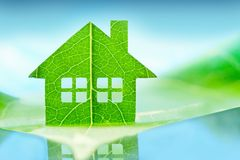 Eco house icon concept. Ecology grass environment nature Royalty Free Stock Images