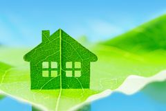 Eco house icon concept. Green energy, ecology environment symbol sign Royalty Free Stock Image