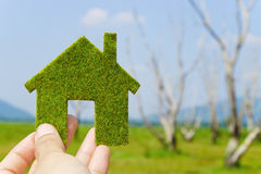 Eco house icon concept. Hand holding eco house icon concept Stock Images