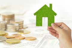 Eco house icon energy concept Stock Photos