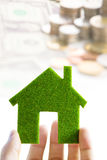 Eco house icon energy concept. Hand holding eco house icon energy concept Royalty Free Stock Image