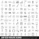 100 eco house icons set, outline style Stock Photos