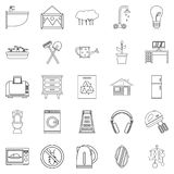 Eco house icons set, outline style. Eco house icons set. Outline set of 25 eco house vector icons for web isolated on white background Stock Photo