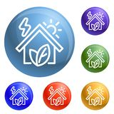 Eco house icons set vector. 6 color isolated on white background vector illustration