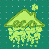 Eco house illustration with clover stock image