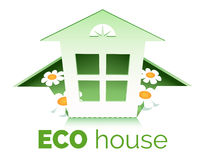 Eco House. Illustration of eco house symbol. Only free font used. Isolated on white background Royalty Free Stock Photos