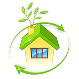 Eco House Indicates Earth Friendly And Building Stock Image