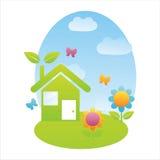 Eco house landscape Stock Photography