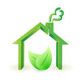 Eco house. leaves illustration design Stock Photography