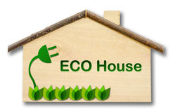 Eco house on Little home wooden model isolated on white backgrou. Nd. Save clipping path Stock Photos