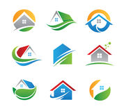 Eco house logos and icons Stock Photography