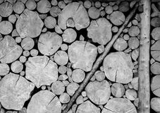 Wooden log wall black and white Stock Photos