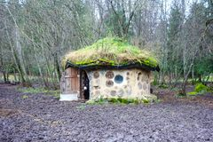 Free Eco House Made With Natural Materials In Estonia With Donkey Royalty Free Stock Image - 104534126