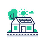 Eco House - modern vector single line icon. An image of a green domicile that runs on ecologically clean energy, tree, sun, cloud, battery. Representation of Stock Images