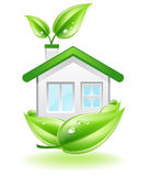 Eco House Nest. This image is a vector file representing a Eco House in a leaf nest,  all the elements can be scaled to any size without loss of resolution Royalty Free Stock Image