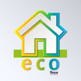 Eco House in rainbow color. Vector. EPS 10. Stock Photo