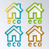Eco House in rainbow color. Vector. EPS 10. Royalty Free Stock Images