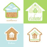 Eco house set of the natural material wood texture. Eco house set of the natural material wood royalty free illustration