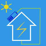 Eco house with solar battery Royalty Free Stock Image